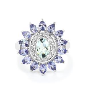 Espirito Santo Aquamarine, Tanzanite Ring with White Topaz in Sterling Silver 2.72cts