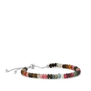 25ct Rainbow Tourmaline Sterling Silver Graduated Bead Slider Bracelet