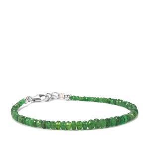 Tsavorite Garnet Bead Bracelet in Sterling Silver 20cts
