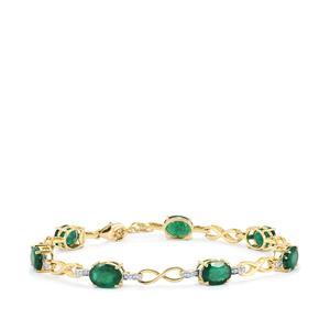 Minas Gerais Emerald Bracelet with Diamond in 18k Gold 8.06cts