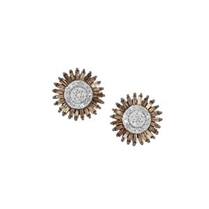 1ct Champagne & White Diamond Sterling Silver Earrings