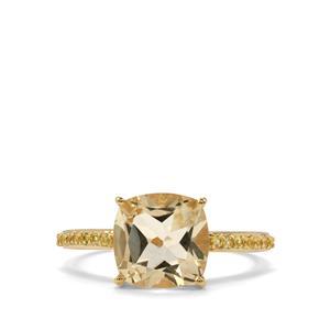 Serenite & Yellow Sapphire 9K Gold Ring ATGW 3.08cts