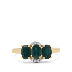Grandidierite Ring with White Zircon in 9K Gold 1.45cts