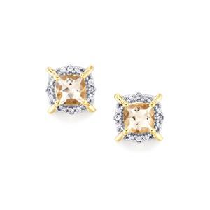 Alto Ligonha Morganite & White Zircon 10K Gold Earrings ATGW 1.13cts