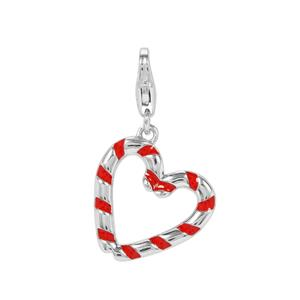 Double Candy Cane Heart Milano Charms in Sterling Silver
