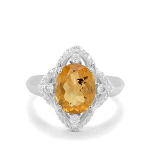 Burmese Amber Ring with White Zircon in Sterling Silver 1.35cts