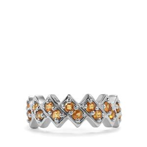 0.88ct Songea Yellow Sapphire Sterling Silver Ring