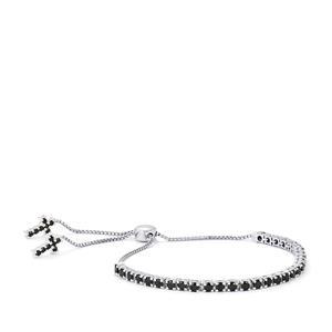 Black Spinel Slider Bracelet in Sterling Silver 4.70cts