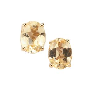Ouro Preto Imperial Topaz Earrings in 9K Gold 0.76ct