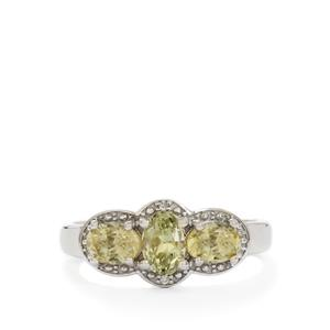 Kerala Sillimanite & Diamond Sterling Silver Ring ATGW 1.71cts