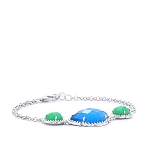 16.22ct Blue & Green Chalcedony Sterling Silver Bracelet