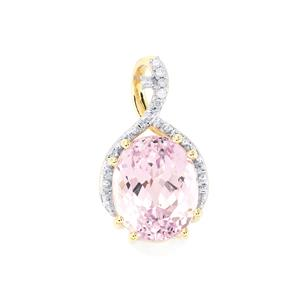 Mawi Kunzite Pendant with Diamond in 10k Gold 3.70cts