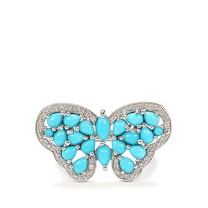 Sleeping Beauty Turquoise Ring with White Zircon in Platinum Plated Sterling Silver 2.76cts