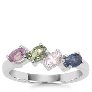 Rainbow Sapphire Ring in Sterling Silver 1.33cts