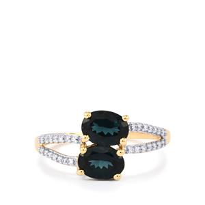 Mahenge Spinel Ring with Diamond in 14k Gold 1.91cts