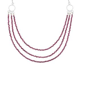 Natural Ruby Nugget Necklace in Sterling Silver 20cts