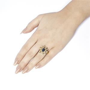 Neela Sapphire and White Topaz Ring