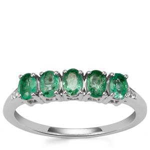 Zambian Emerald Ring with White Zircon in Sterling Silver 0.75ct