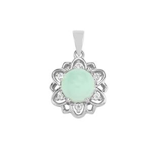 Prase Green Opal Pendant with White Topaz in Sterling Silver 3.42cts