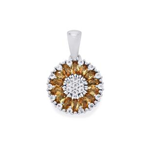 Gouveia Andalusite Pendant with White Zircon in Sterling Silver 1.58cts
