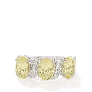 Chartreuse Sanidine & White Topaz Sterling Silver Ring ATGW 3.26cts