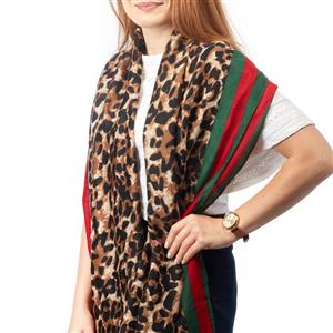 Destello Iconic leopard print scarf with Red/Green Edge