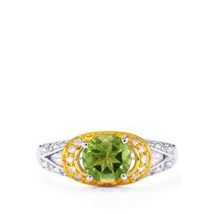 Fern Green Quartz & White Topaz Sterling Silver Ring ATGW 1.36cts
