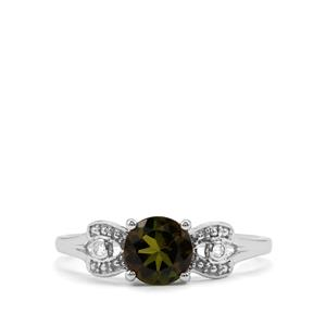 Chrome Tourmaline Ring with Diamond in 9K White Gold 0.79ct