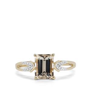 Champagne Danburite & Diamond 9K Gold Ring ATGW 1.67cts