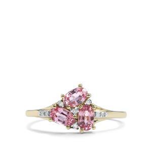 Sakaraha Pink Sapphire & Diamond 10K Gold Ring ATGW 1cts