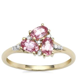 Sakaraha Pink Sapphire Ring with Diamond in 9K Gold 1ct