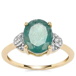Grandidierite Ring with Diamond in 9K Gold 2.69cts