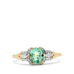 Paraiba Tourmaline Ring with Diamond in 18K Gold 1.09cts