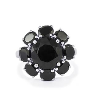 Black Spinel Ring in Sterling Silver 8.41cts