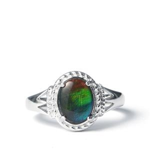 AA Ammolite Ring in Sterling Silver (9x7mm)