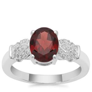Nampula Garnet Ring with White Zircon in Sterling Silver 2.17cts