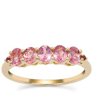 Padparadscha Sapphire Ring with Kaffe Tourmaline in 9K Gold 1.20cts