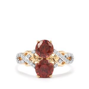 Zanzibar Zircon Ring with Diamond in 18K Gold 2.92cts