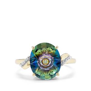 Lehrer QuasarCut Mystic Topaz Ring with Diamond in 9K Gold 4.52cts