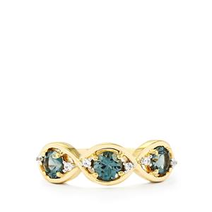 Mahenge Blue Spinel Ring with White Zircon in 9K Gold 0.93cts