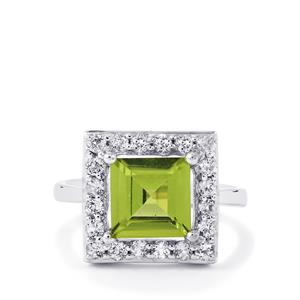 Changbai Peridot Ring with White Topaz in Sterling Silver 3.15cts