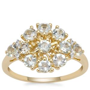 Aquaiba Beryl Ring with White Zircon in 9K Gold 1.05cts