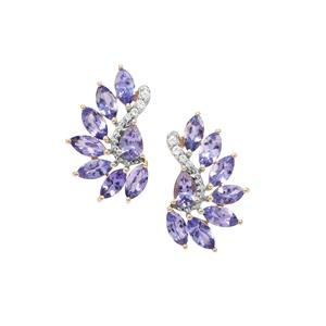 AA Tanzanite Earrings with White Zircon in 9K Gold 4.47cts