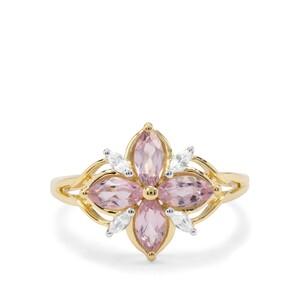 Andhra Pradesh Pink Spinel & White Zircon 9K Gold Ring ATGW 1.18cts