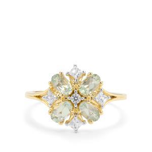 Lemanja Amblygonite & White Zircon 9K Gold Ring ATGW 1.15cts