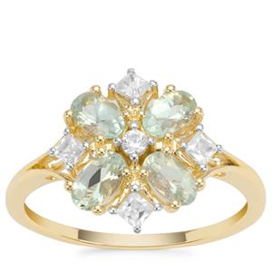 Lemanja Amblygonite Ring with White Zircon in 9K Gold 1.15cts