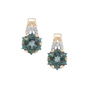 Wobito Snowflake Cut Ocean Blue Topaz Earrings with Diamond in 9K Gold 5.70cts