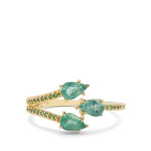 Zambian Emerald & Tsavorite Garnet 9K Gold Ring ATGW 1.10cts