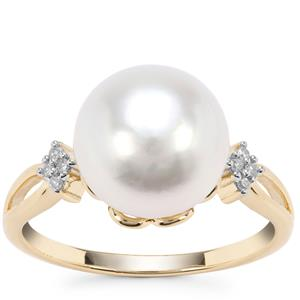 South Sea Cultured Pearl Ring with Diamond in 9K Gold (11x10mm)