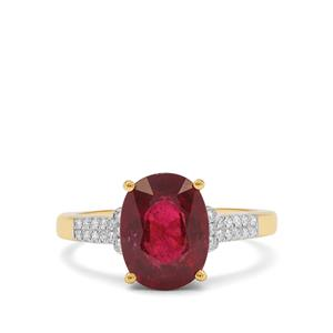 Rubellite Ring with Diamond in 18K Gold 3.18cts
